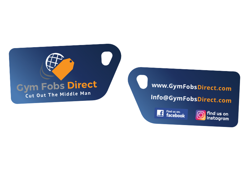 blue PVC fob with gym fobs direct logo printed