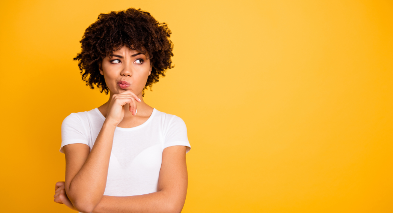 millennial black woman with puzzled expression