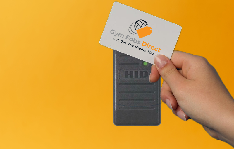 RFID card fob being scanned on a hid proximity reader