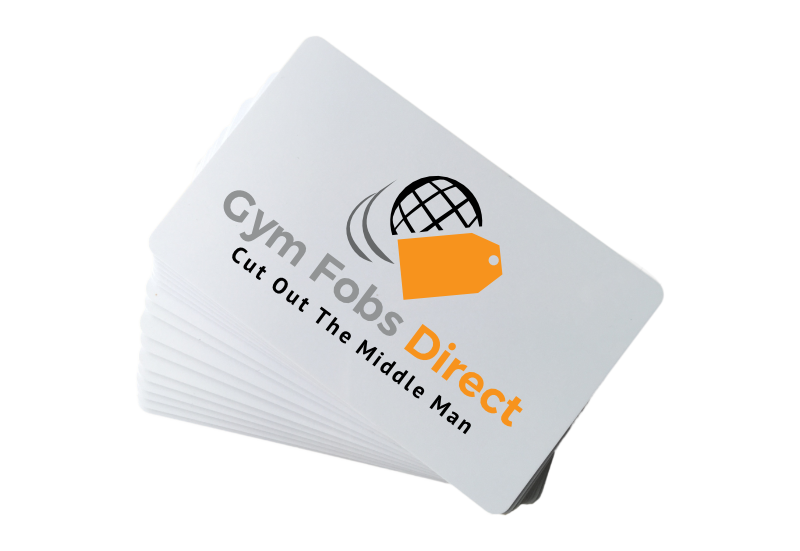 white iso card with gym fobs direct logo printed